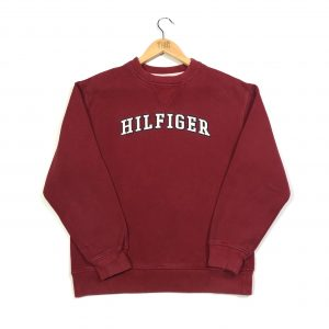 vintage clothing tommy hilfiger embroidered spell out burgundy sweatshirt